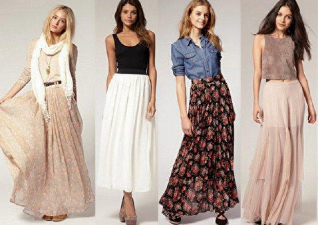 про длинные юбки ,как и с чем их носить