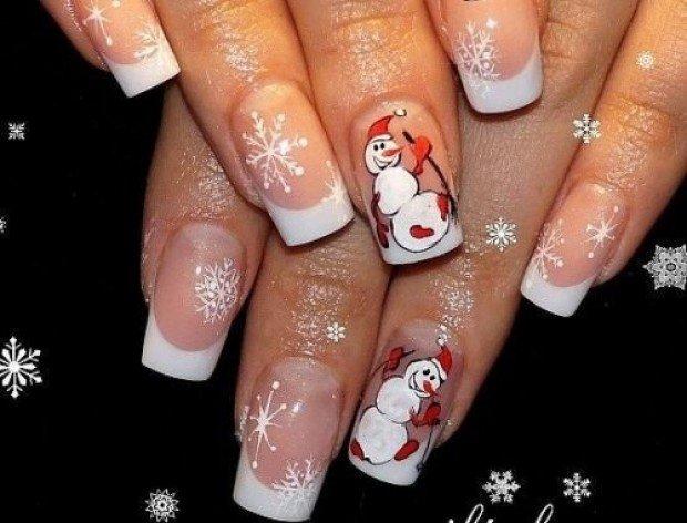 Гелевые ногти фото френч с новогодним рисунком